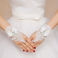 Wholesale fingerless sheer wrist gloves resale online - Fashion Design Cheap White Ivory Lace Short Fingerless Bridal Bride Wedding Gloves with Crystals Beaded Bow Knot Wrist