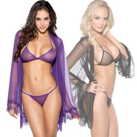 Wholesale see through robes for sale - sexy lingerie mesh see through women new robe sleeves with bra pant set