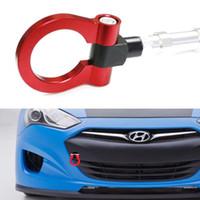 anillo de ojo rojo al por mayor-Coche Auto Trailer Ring Eye Sports Red Track Racing Style Gancho de remolque de aluminio para vehículos Hyundai Genesis Coupe de 10 en adelante
