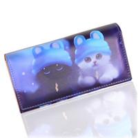 kedi örneği cüzdanı toptan satış-Moda kadın Cüzdan Yumuşak Pu Deri Kediler Hayvan Desen Casual Lady Sikke çanta Çanta Moneybags Cüzdan Burse Çanta