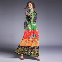 maxi vestidos de vacaciones al por mayor-Vestidos de pista 2019 mujeres de alta calidad arco cuello impresión floral vacaciones vacaciones Maxi vestido largo Vestidos Robe Femme DD72322
