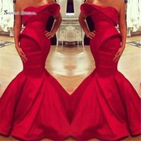 vestido de cetim árabe venda por atacado-2019 Arábia Saudita Red Querida Sereia Vestidos de Noite de Cetim Até O Chão Custom Made Vestido de Baile Prom