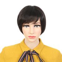 вырезанные человеческие волосы парики оптовых-Женщины парик шнурка волос бразильский человеческий волос короткий парик дешевые Pixie Cut натуральный черный человека нет парик шнурка Glueless для чернокожих женщин парики