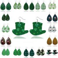 clover hooks 도매-여성 클로버 잎 인쇄 가죽 매달려 귀걸이 경량 럭키 아일랜드 후크 드롭 귀걸이 U76FY에 대한 새로운 기네스 가짜 가죽 귀걸이