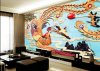 Wholesale mural kitchen for sale - Group buy Custom wallpaper HD stereo Chinese Phoenix tv background wall living room bedroom children room background d wallpaper murals