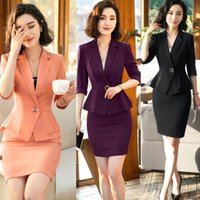 Wholesale formal clothes for women resale online - Summer Clothes For Women Formal Uniform Designs Blazer Set Lady Office Elegant Business Pieces Skirt Suit Plus Size