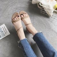 zapatos de moda usa al por mayor-Las mujeres zapatos de tacón alto de la sandalia de diseño buena calidad cuero Diapositivas de moda al aire libre zapatilla de Tobillo en doble uso de la sandalia Tamaño 35-43