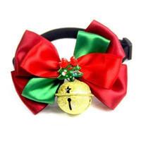 gravata borboleta venda por atacado-Dog Bow Ties Bonito Gravatas Collar Natal Do Feriado Filhote de Cachorro Do Cão Do Gato Laços Acessórios Grooming Suprimentos EEA387