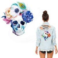 t-shirt schädel blumen großhandel-Neuer Entwurf malte Blumenschädelflecken 25 * 23cm Flecken für Kleidung Diy T-Shirt Hoodies A-Level Thermotransferaufkleber