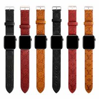 Wholesale leather smart watch for sale - Group buy For Apple Watch Bands Wristband Smart Straps mm mm Designer Luxury Wristband Leather Belt Replacements iWatch Series