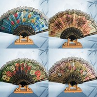Wholesale yellow folding hand fans for sale - Group buy Plastic Lace Hand Fan Thickened Style Yellow Green Red Optional Pattern Folding Fans Peony Chrysanthemum Lotus Patterns zq L1