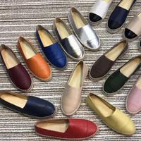 schuhe für große größen großhandel-Klassische Luxus Designer Fischer Schuhe Espadrilles flache Schuhe aus echtem Lammfell Frauen Sommer Loafers Leder Casual Frau Schuhe Größe 42