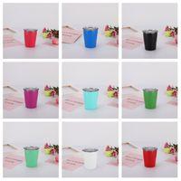 ingrosso tazze a doppia parete-Bicchiere per bambini Bicchiere in acciaio inossidabile Tazza da caffè a doppia parete isolata sottovuoto Bicchieri da birra portatili da viaggio all'aperto Bicchieri T2I5293