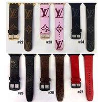 couro de couro 22mm venda por atacado-Designer de luxo Pulseira de Relógio de Couro para Iwatch 38mm 22mm 42mm 24mm Tamanho Bandas pulseira Para Apple Watch Watchband 27 stlyes