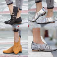 ingrosso tacchi gialli-Hollow Out Zipper Single Shoes Donna Flattie Tacco basso Large Size Scarpa Materiale gomma Traspirante Anti piercing Giallo Grigio 39hta C1