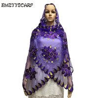 сетчатые шарфы оптовых-BM693 !2018 New Muslim Embroidery Women Small Scarf with  Purple Net Scarf for women,small szie