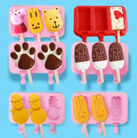 Wholesale rabbit molds resale online - Food Grade Kids Ice Mold Oval Shape Silicone Ice Cream Mold Rabbit Bear Paw Popsicle Molds Ice Tray Cube Tools Frozen Lolly Mold