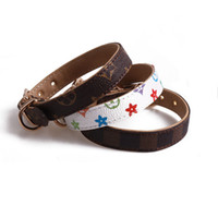 Wholesale personalized dog collars resale online - Pets Collars Classic Pattern PU Leather Fashion Adjustable Famous Pet Dogs Cats Leashes Outdoor Personality Cute Pet Collar