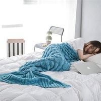 couvertures super douces adultes achat en gros de-10 Couleurs Sirène Queue Couverture Crochet Sirène Couverture Pour Enfants adultes Super Doux Toutes Les Saisons Dormir Couvertures Tricotées