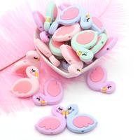 krankenschwester geschenke zubehör großhandel-Silikon Kauen Beißring Mini Flamingo Perlen Baby Kinderkrankheiten Spielzeug Schwan Perlen Baby Pflege DIY Zubehör Neugeborenen Geschenk