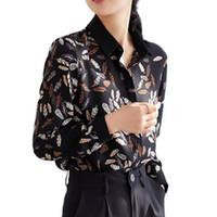 kore rengi bluz siyah toptan satış-Kore Moda İlkbahar Yaz Üst Kadınlar Çiçek Baskı Gömlek Yapraklar Baskı Siyah Gömlek Uzun Kollu Şifon Tops ve Bluzlar