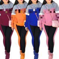 Wholesale pink girl suit pieces online - 2019 Women Letter Printed Tracksuits Girls Long Sleeve Casual Two Piece Sets Hoodies Leggings Sportswear Jogger Suits Casual CRJN4102