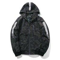 fermuar kapüşonlu ceket askeri toptan satış-BWOWON Marka Bahar Ceket Erkekler Kaburga Kol Beyzbol Ceket Fermuar İnce Erkekler Coat Kamuflaj Tasarım Askeri Ceket ile Kapşonlu