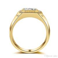 ring lovers man venda por atacado-Luxo dos homens novos cz diamante de casamento 18 k amarelo banhado a ouro amantes do acoplamento da moda casal anéis para homens