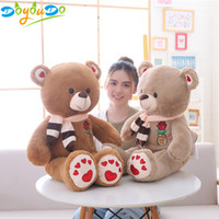 oyuncak bebek büyük boy toptan satış-80/100 CM Büyük Boy Sevimli Teddy Bear Kawaii Peluş Oyuncaklar Doldurulmuş Hayvan Doll Kız Oyuncaklar Doğum Günü Hediyesi