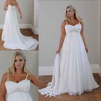 Wholesale beaded princess waist wedding dresses resale online - Plus Size Casual Beach Wedding Dresses Spaghetti Straps Beaded Chiffon Floor Length Empire Waist Elegant Bridal Gowns