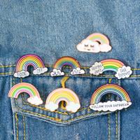 broches de arco-íris venda por atacado-Rainbow Toys Art Meninas Projeto Dos Desenhos Animados Broche Pin Emblema Enamel Fruit Animais Crânio Broche de Liga Mochila Emblema Pinos Jóias Para Presente WT8232
