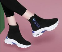 Wholesale knitted ankle shoes for sale - Group buy Hot Sale Women Speed stretch knit Mid sneakers Height Increasing Casual Shoes