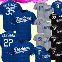 machado jersey venda por atacado-35 Cody Bellinger Los Angeles Homens Dodgers Jersey 22 Clayton Kershaw 5 Corey Seager 10 Turner 8 Machado Camisas De Beisebol