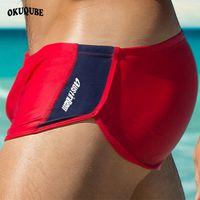 männer rote schriftsätze großhandel-Männer Badeanzug Rot Blau Schwarz Badebekleidung Mann Kordelzug Elastischer Bund Beachwear Badehose Schnell trocknend Atmungsaktiv Badehose XL