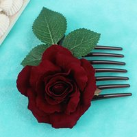 ingrosso pettini dei capelli del fiore di seta-Romantico operato seta artificiale rosa fiore pettine capelli viola bianco clip di capelli da sposa donne prom copricapo attrezzo del partito