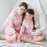 pijamas princesa crianças venda por atacado-marca meninas pijamas verão seção fina crianças mãe e filha pai-filho serviço de casa princesa de mangas compridas menina camisola