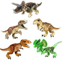 grande dragão venda por atacado-Jurassic grande dragão triangular dupla coroa dragão Rex Tiranossauro blocos de construção dinossauro quebra-cabeça brinquedos brinquedos das crianças