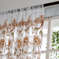 Wholesale door scarf for sale - Group buy Home Office Window Curtain Flower Print Divider Tulle Voile Drape Panel Sheer Scarf Valances Curtains Home Decor