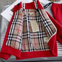 koşu kıyafeti kızlar toptan satış-Kırmızı erkek bebek tasarımcılar giysi set Londra adı marka çocuk kız spor koşu set mont + pantolon iki oğlan k ...