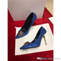 Wholesale shoes gold 9.5 size resale online - Spring summer new stiletto shoes with pointed toes dress dress wedding party water drill heels heel height cm With box Size