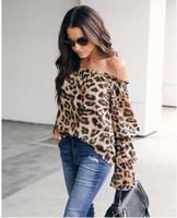 ingrosso pullover una spalla-Abiti da donna alla moda Spalle scoperte Stampa leopardo Top Pullover da donna con volant T-shirt larghe a maniche lunghe un pezzo