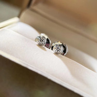 """S925 silver love stud earring with 0.8"""" sparky diamond for mother and women wedding jewelry PS5731"""