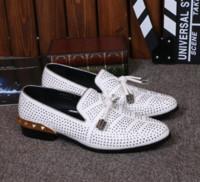 vestidos casuales de oro blanco al por mayor-Zapatos de boda de calidad superior de los hombres de rhinestone europeo zapatos de vestir vino rojo oro blanco negro tachonado zapatos casuales tamaño 39-46