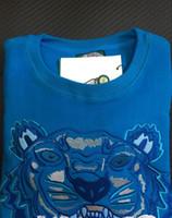 sweater hoodie para homem azul venda por atacado-Bordado tigre cabeça camisola homem mulher de alta qualidade manga longa O-pescoço pullover Hoodies Camisolas jumper melhor qualidade Azul Branco