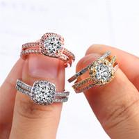 ingrosso anello burlone-Anello di fidanzamento con diamanti per le donne S925 Anello in argento sterling Personalità 3 colori Abiti di moda Joker