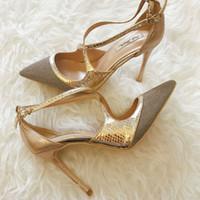 c7ac7e6b26c3 Casual Designer Sexy lady fashion women pumps Gold Glitter Criss Cross  point toe high heels shoes pumps Stiletto 12cm 10cm 8cm party shoes