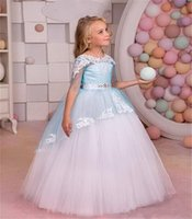 Wholesale tulle illusion flower girl online - 2019 New Cheap Flower Girls Dresses For Weddings Half Sleeves White Lace Appliques Beaded Sashes Tulle Birthday Girl Communion Pageant Gowns
