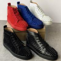 red wine toptan satış-2019 Christian Louboutin Tasarımcı Sneakers genç Süet Çivili Spike Ayakkabı düz eğitmenler Kırmızı Alt ayakkabı yüksek üst gümüş çivili erkek ayakkabı