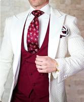 modèle de pantalon une pièce achat en gros de-2019 Motif Floral De Mariage Costumes Pour Hommes De Bonne Qualité Un Boutons Hommes Costumes 2 pièces (Veste + Pantalon) Smokings D'affaires