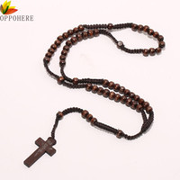 Wholesale beads brown 8mm resale online - OPPOHERE Men Women Catholic Christ Wooden mm Rosary Bead Cross Pendant Woven Rope Necklace Black brown Beige ligt brown